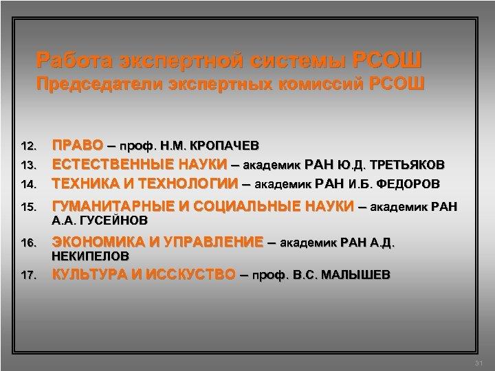 Работа экспертной системы РСОШ Председатели экспертных комиссий РСОШ ПРАВО – проф. Н. М. КРОПАЧЕВ