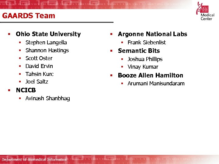 GAARDS Team § Ohio State University § § § Stephen Langella Shannon Hastings Scott