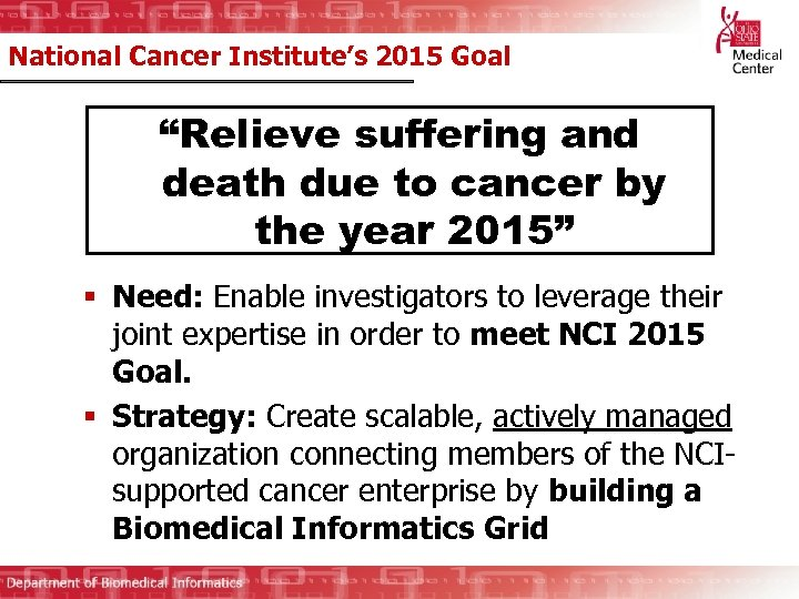 "National Cancer Institute's 2015 Goal ""Relieve suffering and death due to cancer by the"