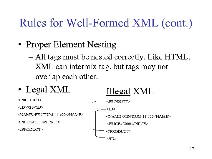 Rules for Well-Formed XML (cont. ) • Proper Element Nesting – All tags must