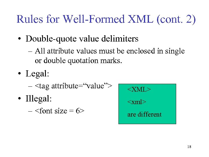 Rules for Well-Formed XML (cont. 2) • Double-quote value delimiters – All attribute values