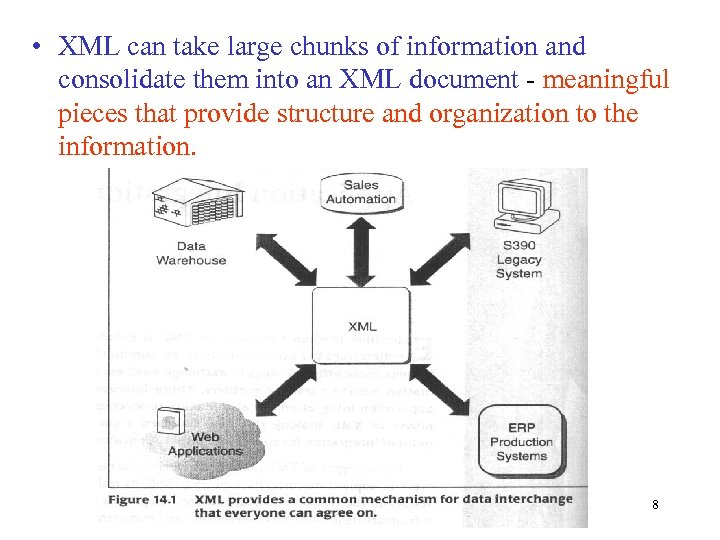 • XML can take large chunks of information and consolidate them into an