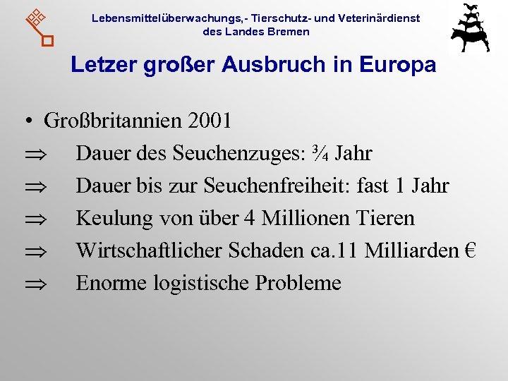 Lebensmittelüberwachungs, - Tierschutz- und Veterinärdienst des Landes Bremen Letzer großer Ausbruch in Europa •