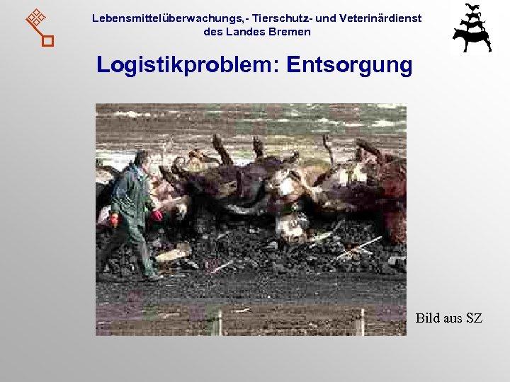 Lebensmittelüberwachungs, - Tierschutz- und Veterinärdienst des Landes Bremen Logistikproblem: Entsorgung Bild aus SZ