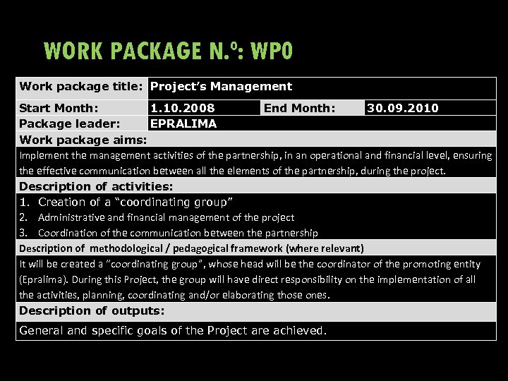 WORK PACKAGE N. º: WP 0 Work package title: Project's Management Start Month: 1.
