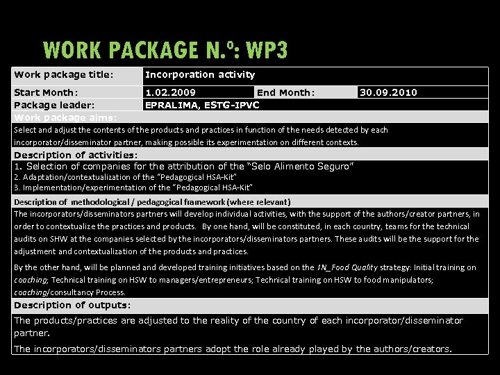 WORK PACKAGE N. º: WP 3 Work package title: Incorporation activity Start Month: 1.
