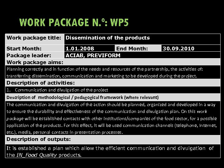 WORK PACKAGE N. º: WP 5 Work package title: Dissemination of the products Start