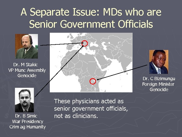 A Separate Issue: MDs who are Senior Government Officials Dr. M Stakic VP Munc