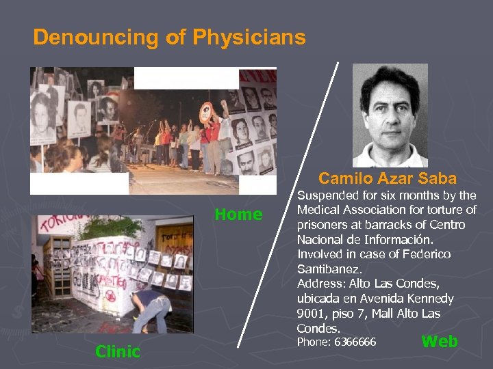Denouncing of Physicians Camilo Azar Saba Home Clinic Suspended for six months by the