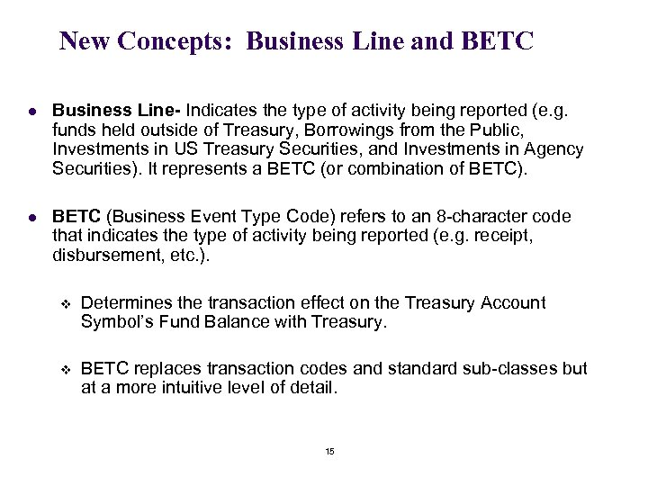 New Concepts: Business Line and BETC l Business Line- Indicates the type of activity
