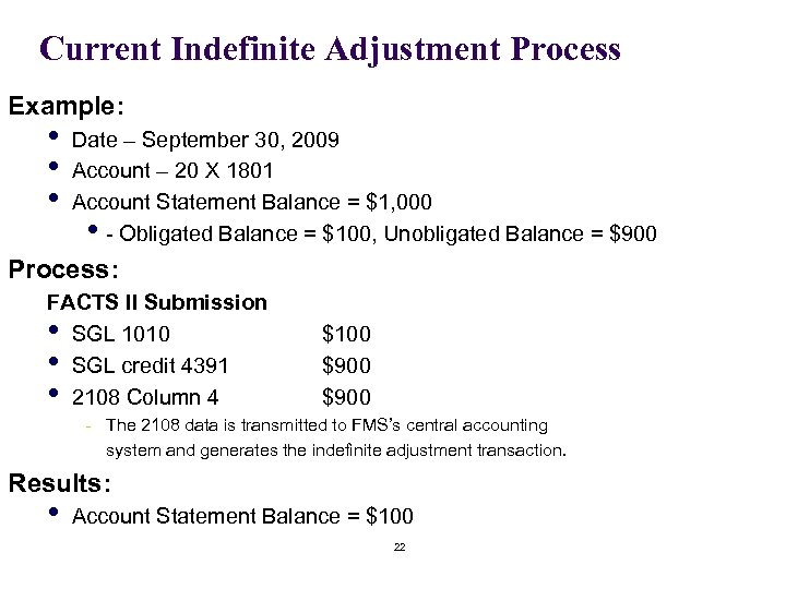 Current Indefinite Adjustment Process Example: • • • Date – September 30, 2009 Account