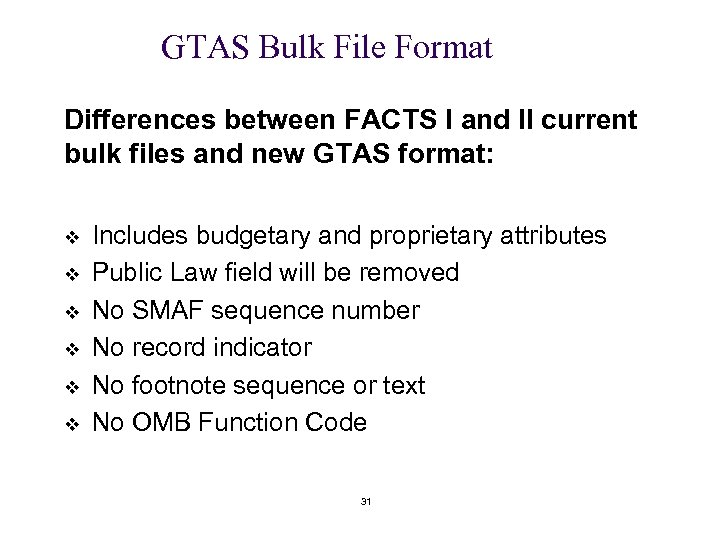GTAS Bulk File Format Differences between FACTS I and II current bulk files and