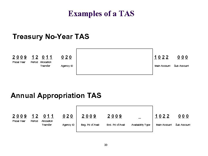 Examples of a TAS Treasury No-Year TAS 2009 Fiscal Year 12 011 Period Allocation