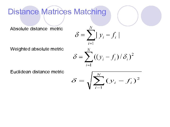 Distance Matrices Matching Absolute distance metric Weighted absolute metric Euclidean distance metric