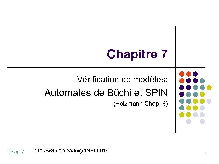 Chapitre 7 Vérification de modèles: Automates de Büchi et SPIN (Holzmann Chap. 6) Chap