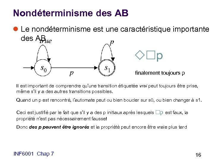 Nondéterminisme des AB l Le nondéterminisme est une caractéristique importante des AB p finalement