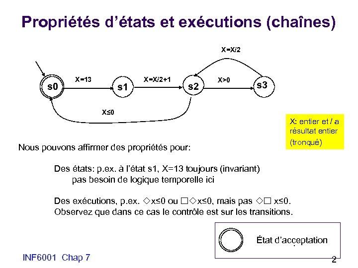 Propriétés d'états et exécutions (chaînes) X=X/2 s 0 X=13 s 1 X=X/2+1 s 2