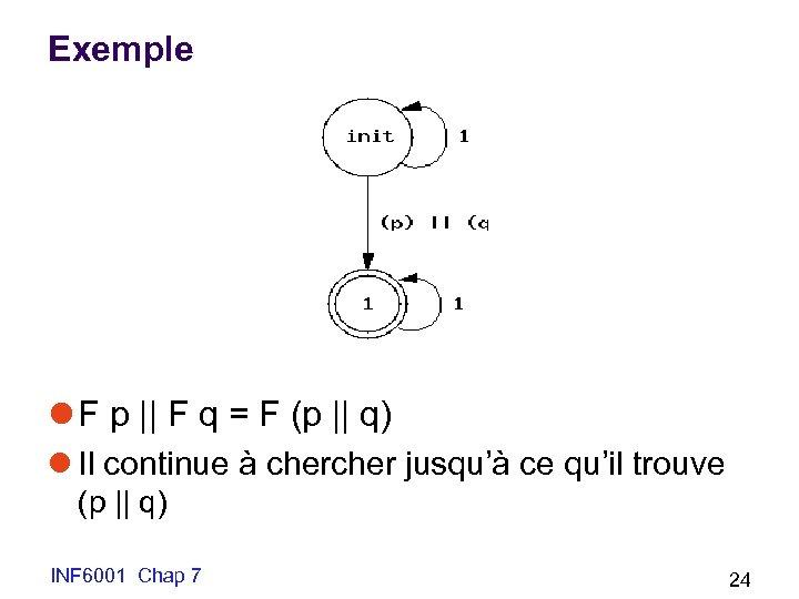 Exemple l F p || F q = F (p || q) l Il