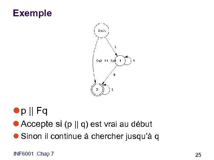 Exemple l p || Fq l Accepte si (p || q) est vrai au