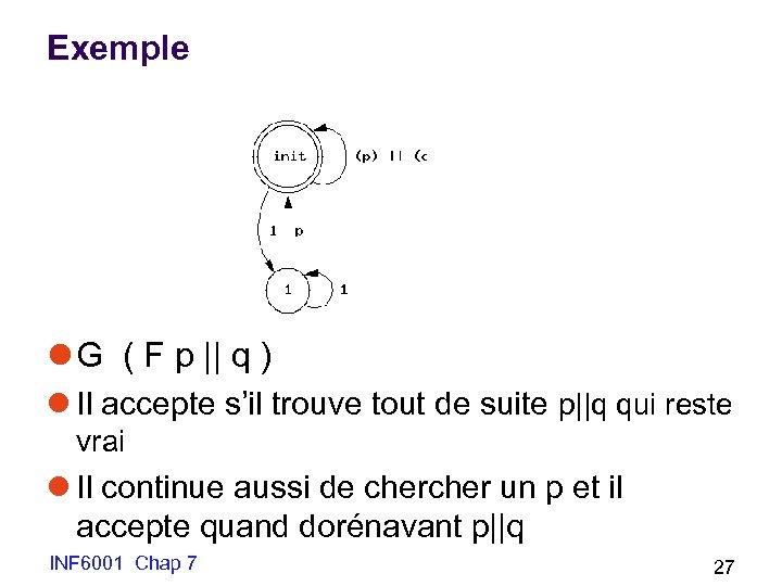 Exemple l G ( F p || q ) l Il accepte s'il trouve