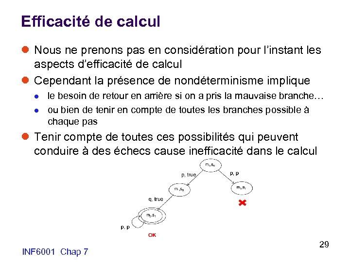 Efficacité de calcul l Nous ne prenons pas en considération pour l'instant les aspects