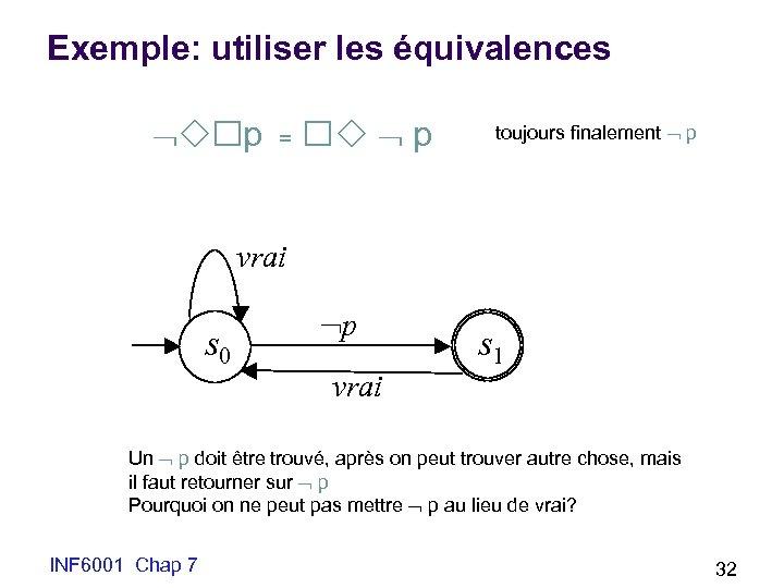 Exemple: utiliser les équivalences p = p toujours finalement p vrai s 0 p