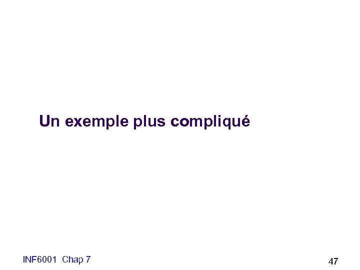 Un exemple plus compliqué INF 6001 Chap 7 47