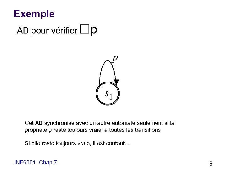 Exemple AB pour vérifier p p s 1 Cet AB synchronise avec un autre