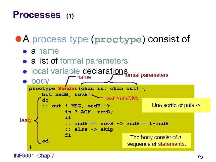 Processes (1) l A process type (proctype) consist of l l a name a