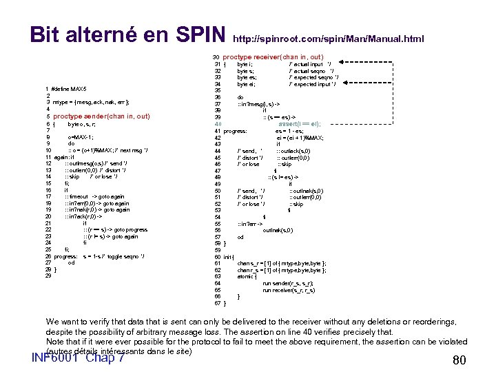 Bit alterné en SPIN http: //spinroot. com/spin/Manual. html 1 #define MAX 5 2 3