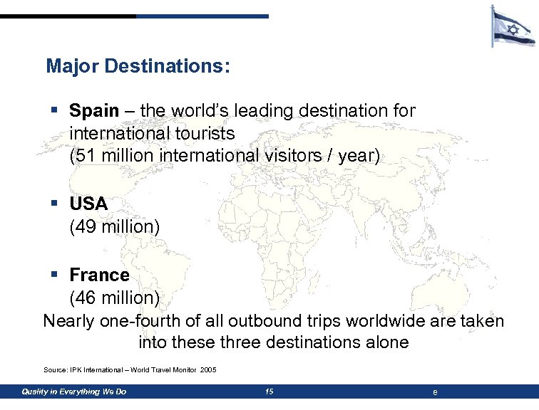 Major Destinations: § Spain – the world's leading destination for international tourists (51 million