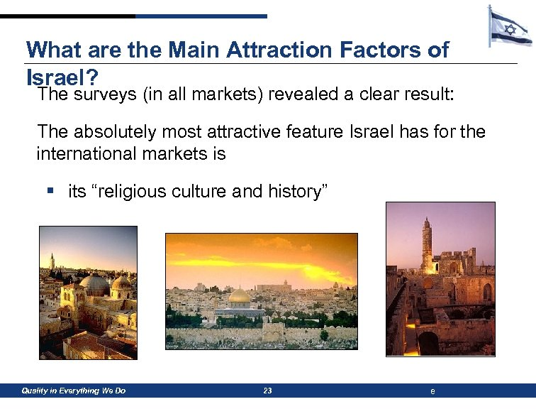 What are the Main Attraction Factors of Israel? The surveys (in all markets) revealed