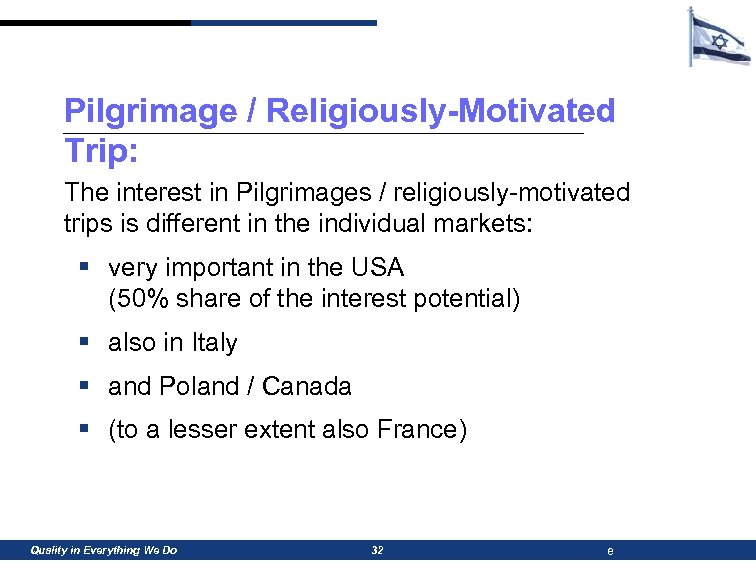 Pilgrimage / Religiously-Motivated Trip: The interest in Pilgrimages / religiously-motivated trips is different in