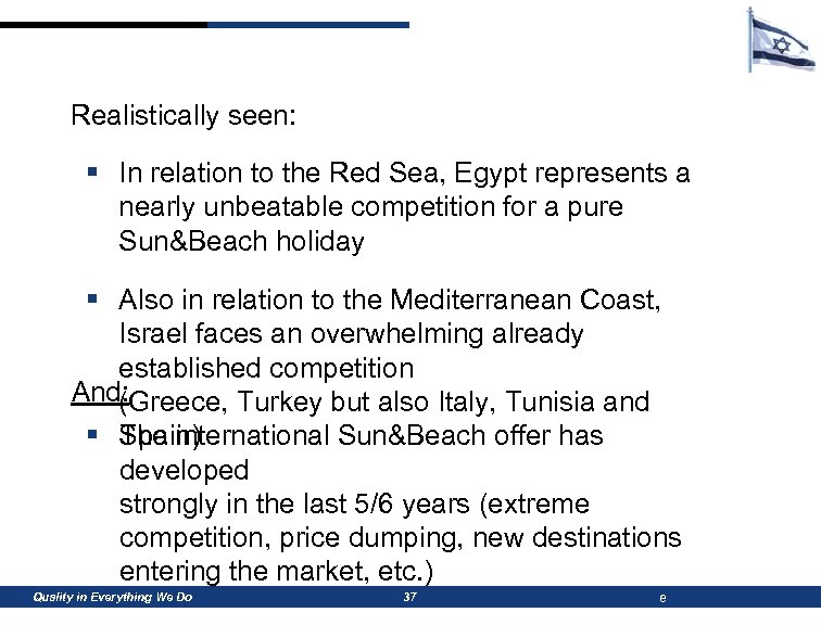 Realistically seen: § In relation to the Red Sea, Egypt represents a nearly unbeatable