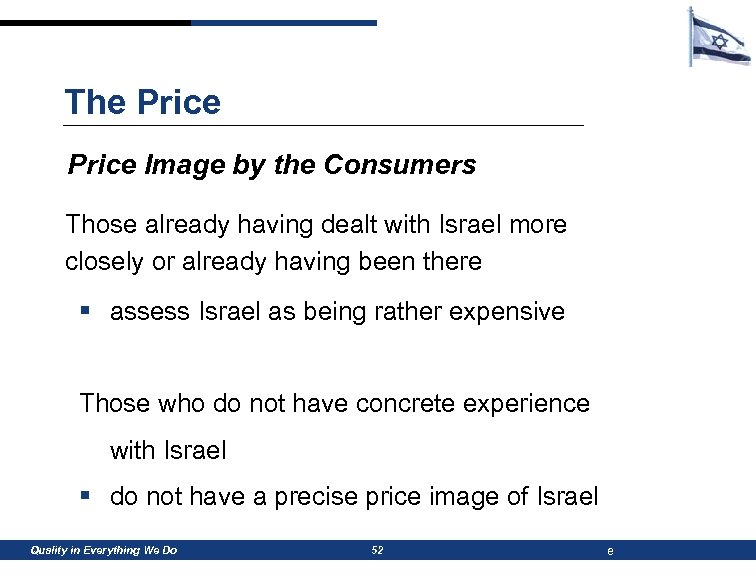 The Price Image by the Consumers Those already having dealt with Israel more closely
