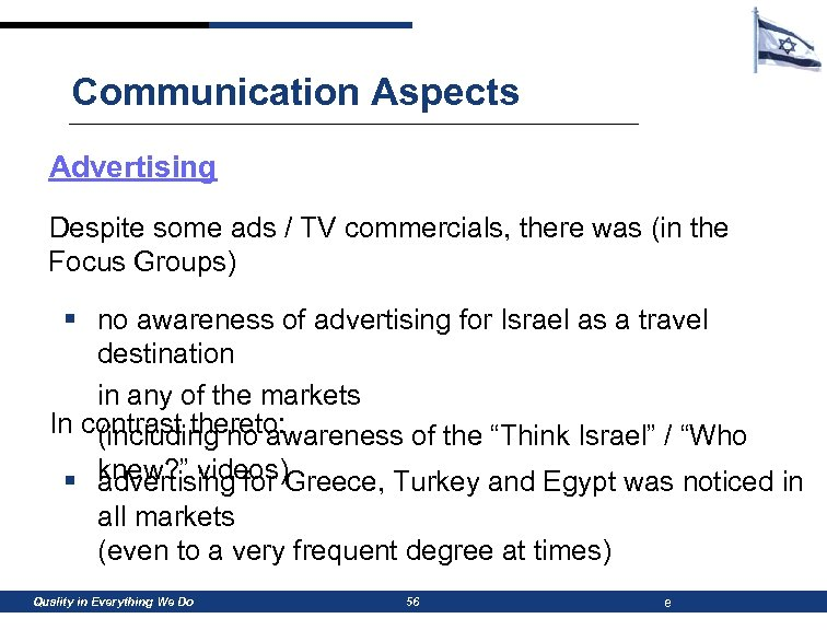 Communication Aspects Advertising Despite some ads / TV commercials, there was (in the Focus