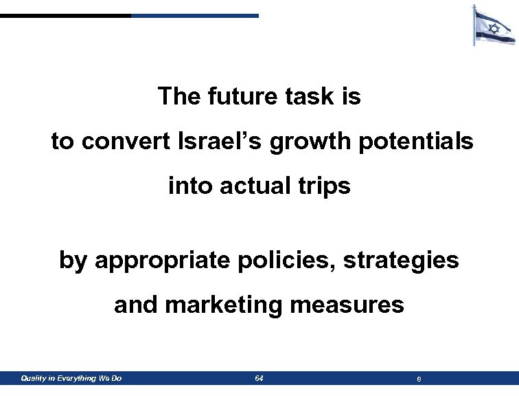 The future task is to convert Israel's growth potentials into actual trips by appropriate