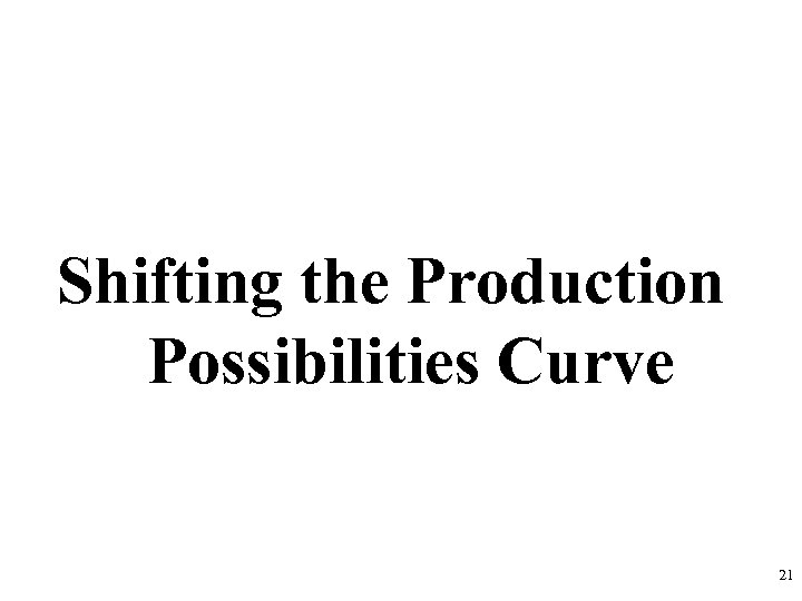 Shifting the Production Possibilities Curve 21