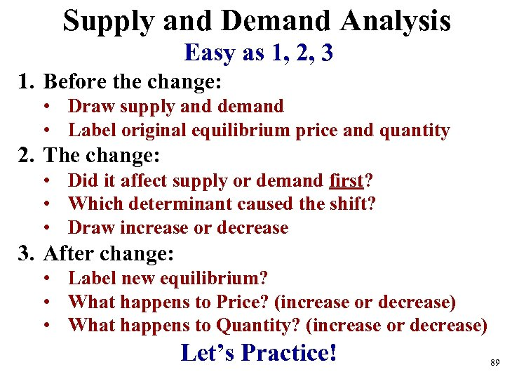 Supply and Demand Analysis Easy as 1, 2, 3 1. Before the change: •