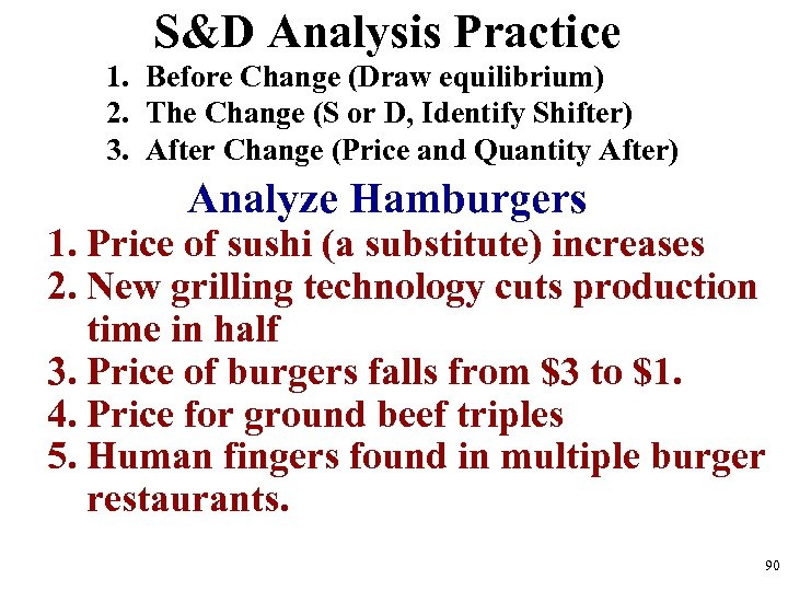 S&D Analysis Practice 1. Before Change (Draw equilibrium) 2. The Change (S or D,