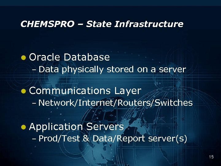 CHEMSPRO – State Infrastructure l Oracle Database – Data physically stored on a server