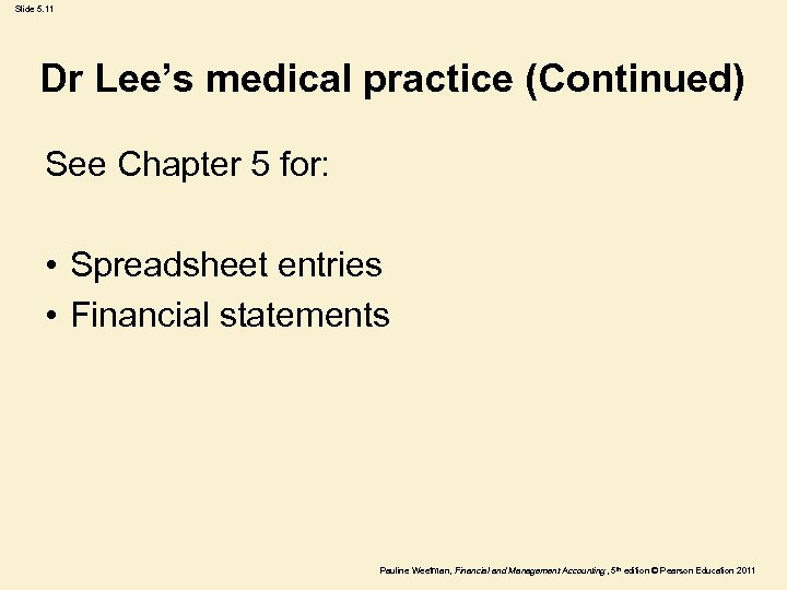 Slide 5. 11 Dr Lee's medical practice (Continued) See Chapter 5 for: • Spreadsheet