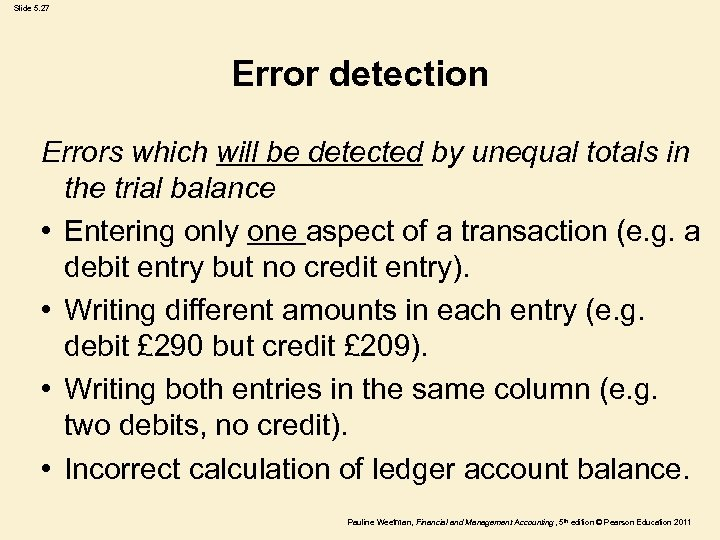 Slide 5. 27 Error detection Errors which will be detected by unequal totals in