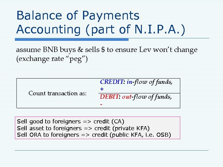 Balance of Payments Accounting (part of N. I. P. A. ) assume BNB buys