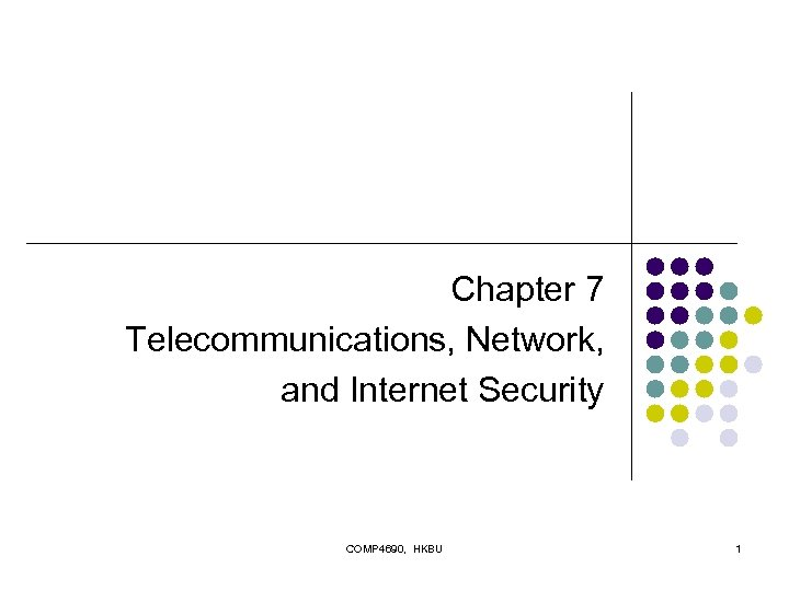 Chapter 7 Telecommunications, Network, and Internet Security COMP 4690, HKBU 1
