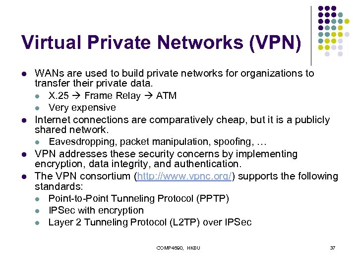 Virtual Private Networks (VPN) l l WANs are used to build private networks for