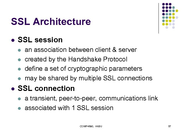 SSL Architecture l SSL session l l l an association between client & server