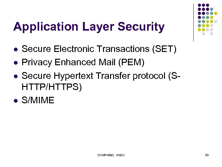 Application Layer Security l l Secure Electronic Transactions (SET) Privacy Enhanced Mail (PEM) Secure
