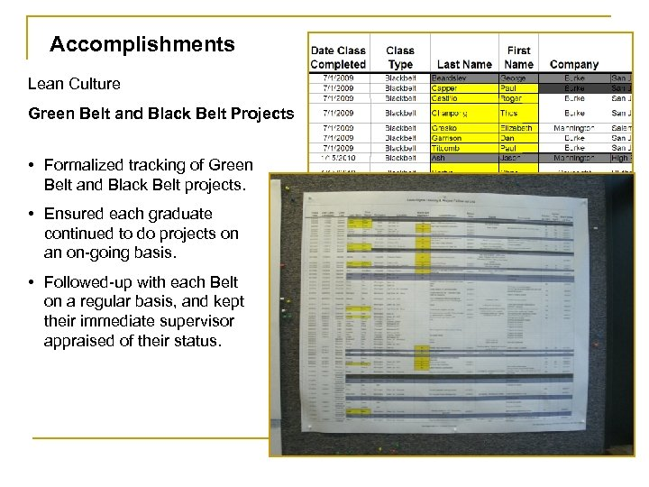 Accomplishments Lean Culture Green Belt and Black Belt Projects • Formalized tracking of Green