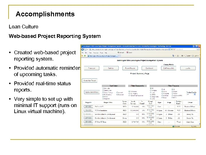 Accomplishments Lean Culture Web-based Project Reporting System • Created web-based project reporting system. •